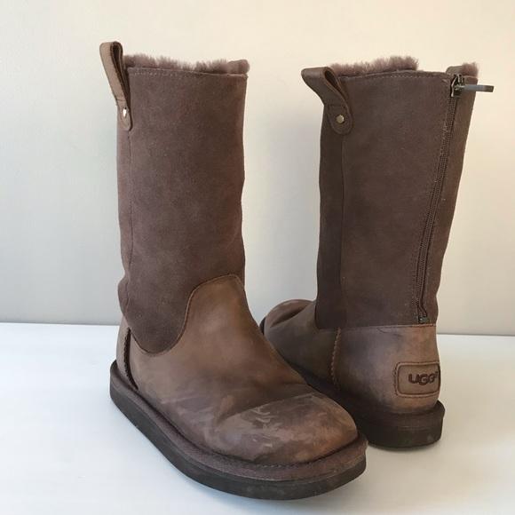 8de0c1a9aef UGG Jesslyn chocolate brown tall boots zipper kids